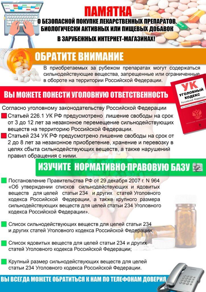 Памятка по обеспечению безопасности покупки лекарственных препаратов за рубежом